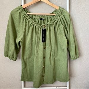 Peasant Style Knit Top with Button Accents